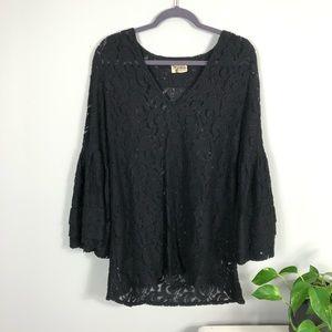 Show Me Your MuMu Flora Fan Black Lace Top M/L
